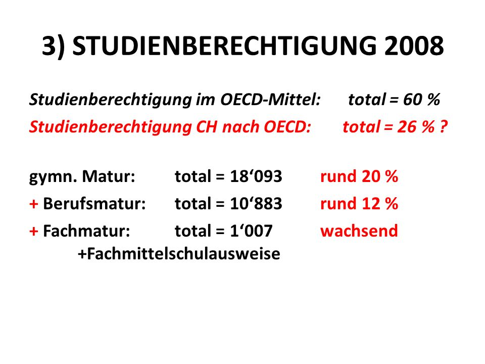 3) STUDIENBERECHTIGUNG 2008