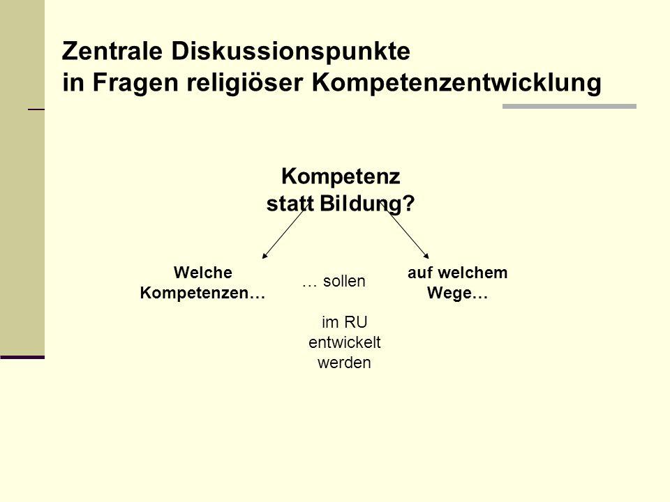 Zentrale Diskussionspunkte in Fragen religiöser Kompetenzentwicklung
