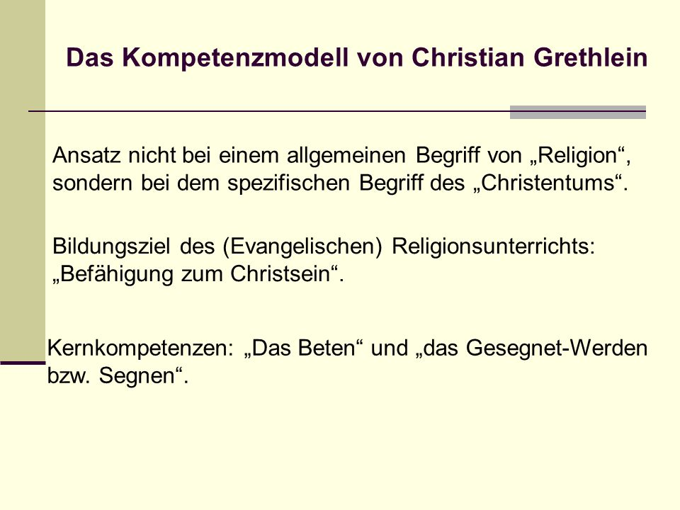 Das Kompetenzmodell von Christian Grethlein
