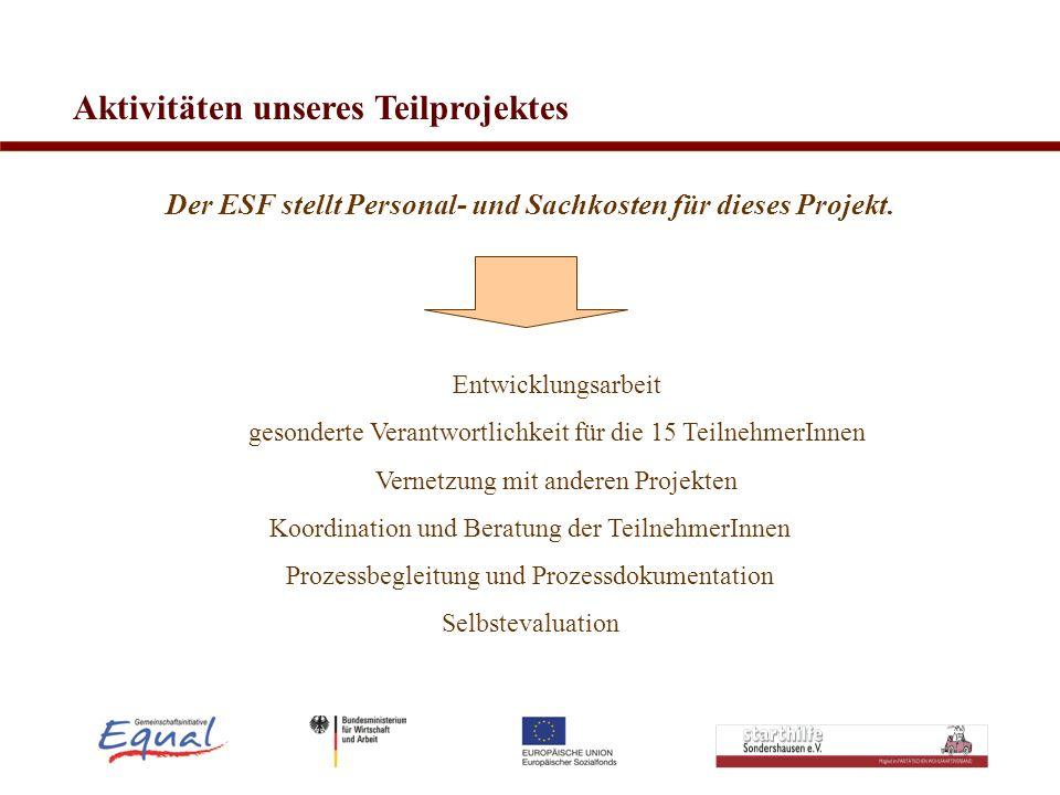 Der ESF stellt Personal- und Sachkosten für dieses Projekt.