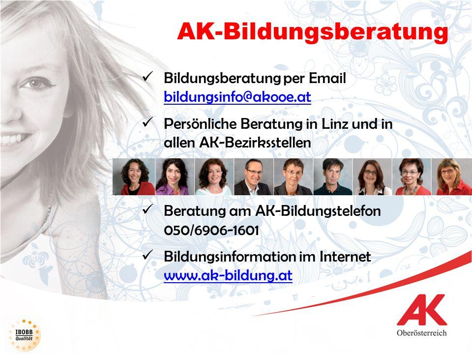 AK-Bildungsberatung Bildungsberatung per Email bildungsinfo@akooe.at