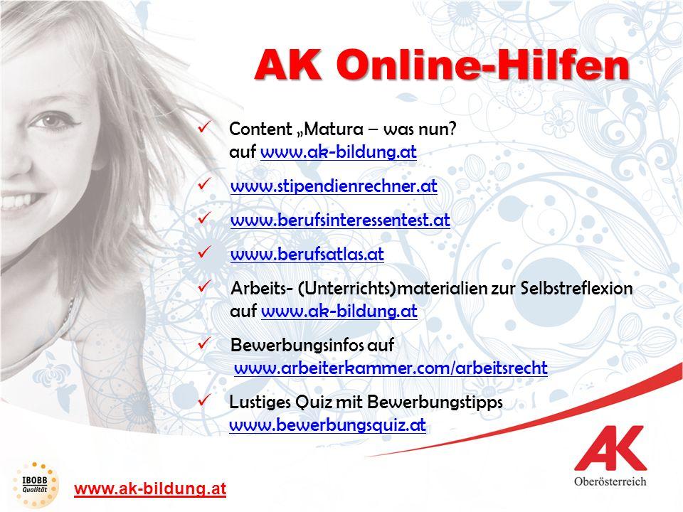 """AK Online-Hilfen Content """"Matura – was nun auf www.ak-bildung.at"""