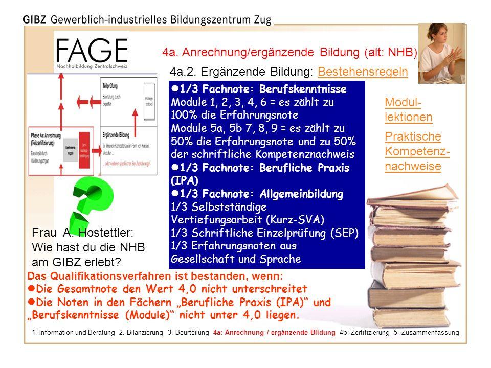 4a. Anrechnung/ergänzende Bildung (alt: NHB)