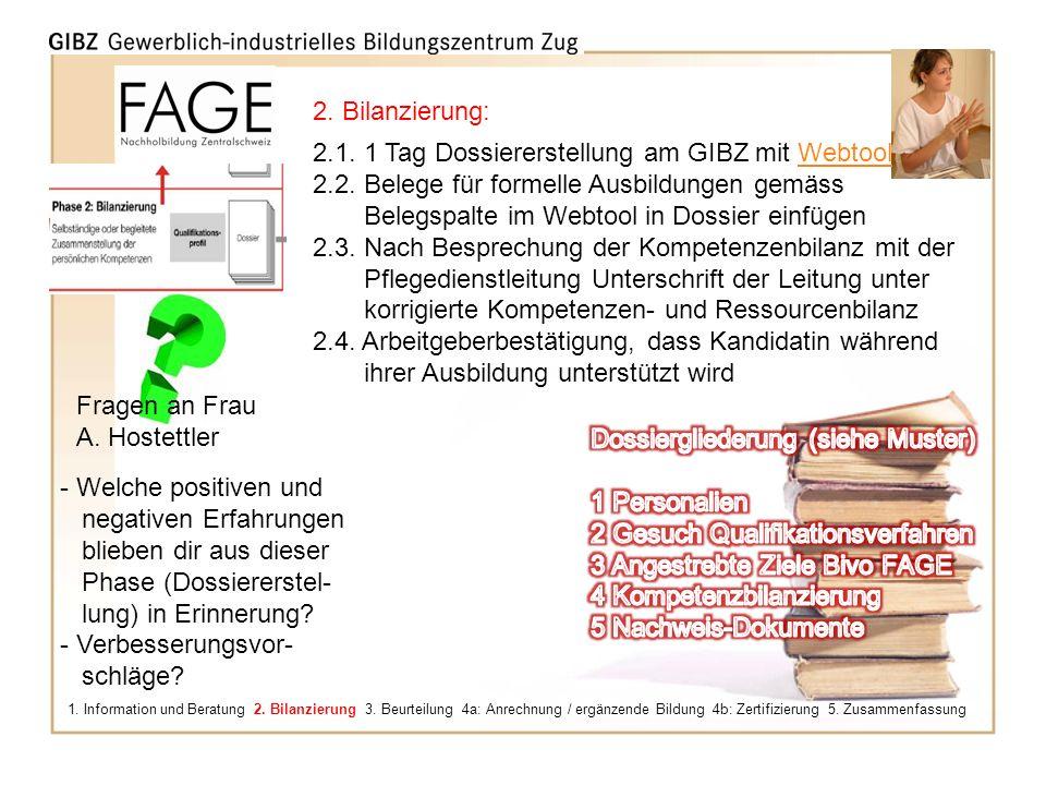 2.1. 1 Tag Dossiererstellung am GIBZ mit Webtool