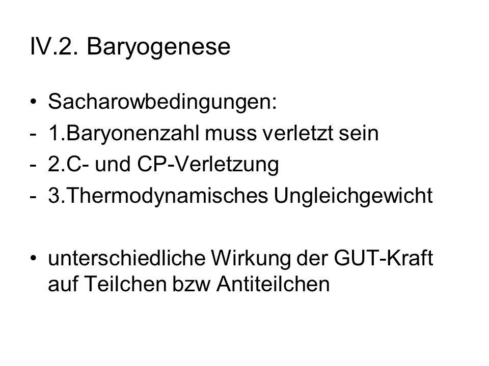 IV.2. Baryogenese Sacharowbedingungen: