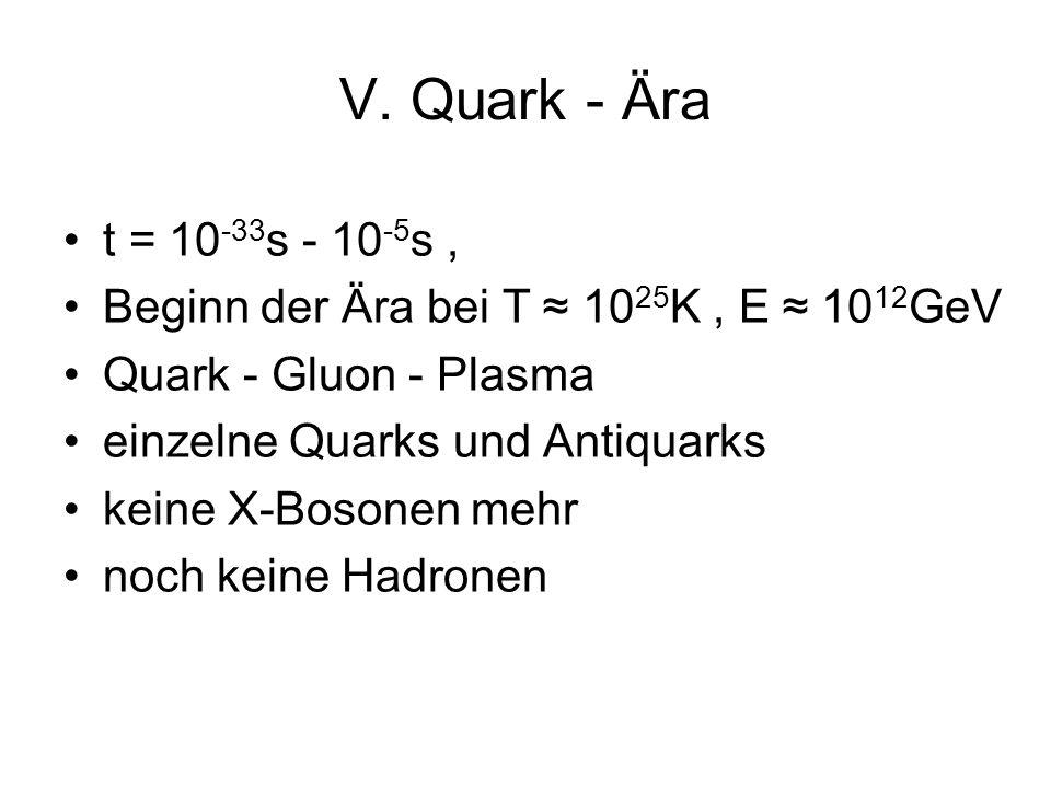 V. Quark - Ära t = 10-33s - 10-5s , Beginn der Ära bei T ≈ 1025K , E ≈ 1012GeV. Quark - Gluon - Plasma.