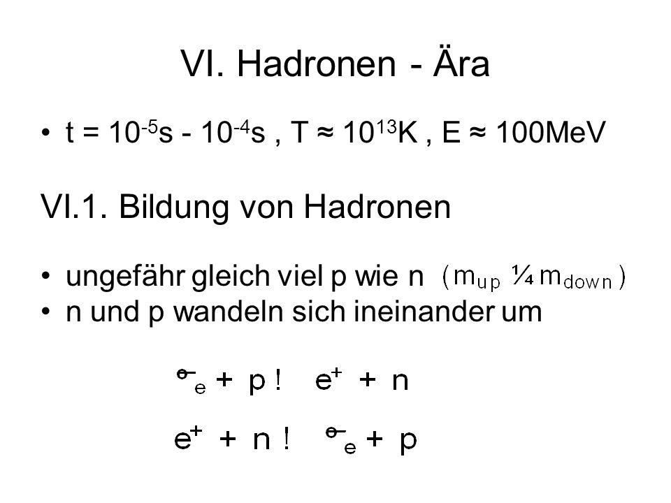 VI. Hadronen - Ära VI.1. Bildung von Hadronen