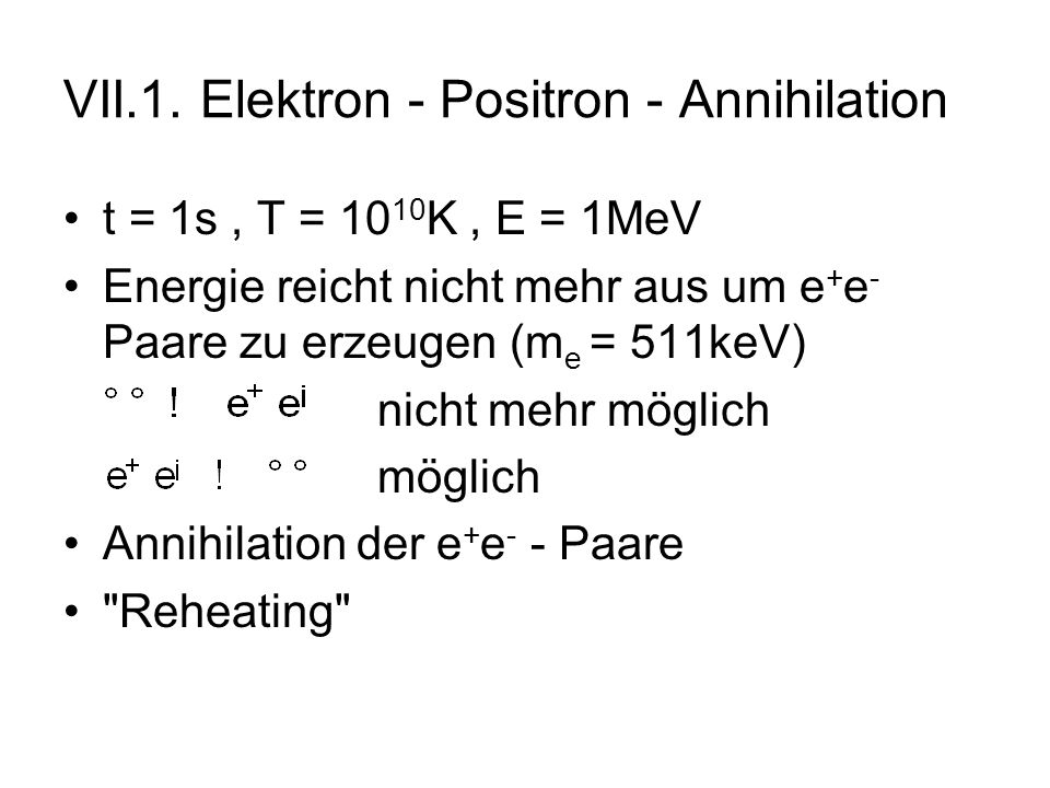 VII.1. Elektron - Positron - Annihilation