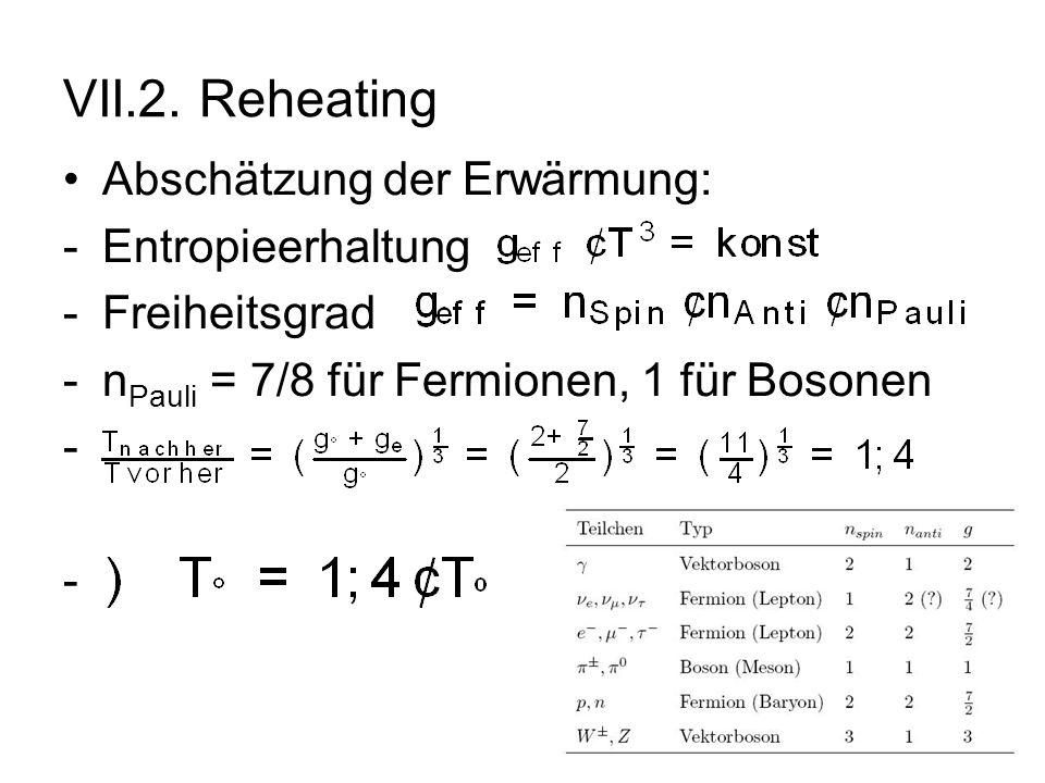 VII.2. Reheating Abschätzung der Erwärmung: Entropieerhaltung