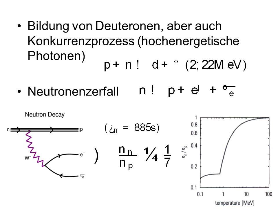 Bildung von Deuteronen, aber auch Konkurrenzprozess (hochenergetische Photonen)