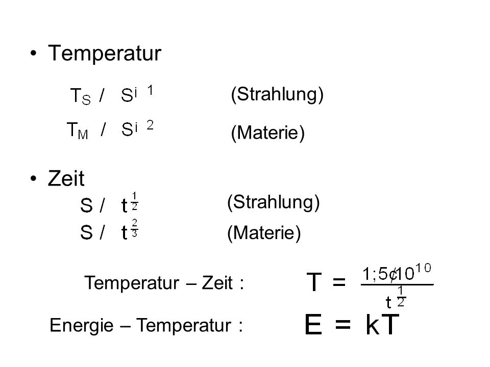 Temperatur Zeit (Strahlung) (Materie) (Strahlung) (Materie)