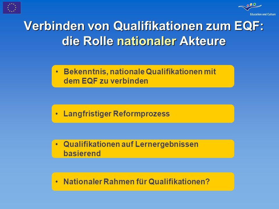 Verbinden von Qualifikationen zum EQF: die Rolle nationaler Akteure