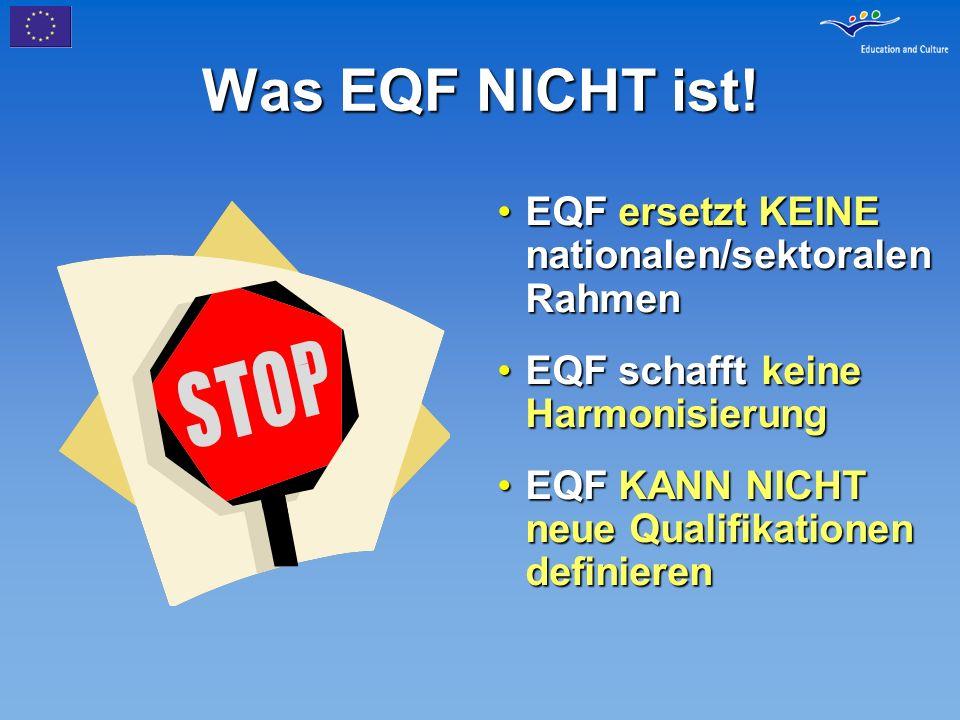 Was EQF NICHT ist! EQF ersetzt KEINE nationalen/sektoralen Rahmen