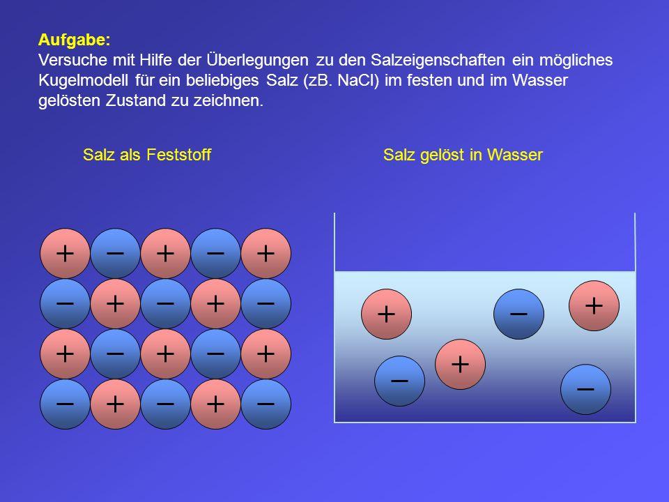 Aufgabe: Versuche mit Hilfe der Überlegungen zu den Salzeigenschaften ein mögliches Kugelmodell für ein beliebiges Salz (zB. NaCl) im festen und im Wasser gelösten Zustand zu zeichnen.