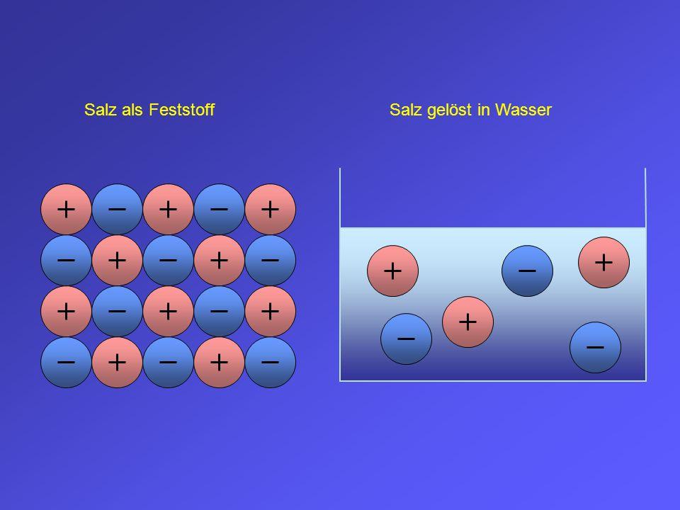 Salz als Feststoff Salz gelöst in Wasser
