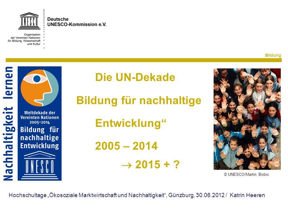 """"""" Bildung für nachhaltige Entwicklung"""