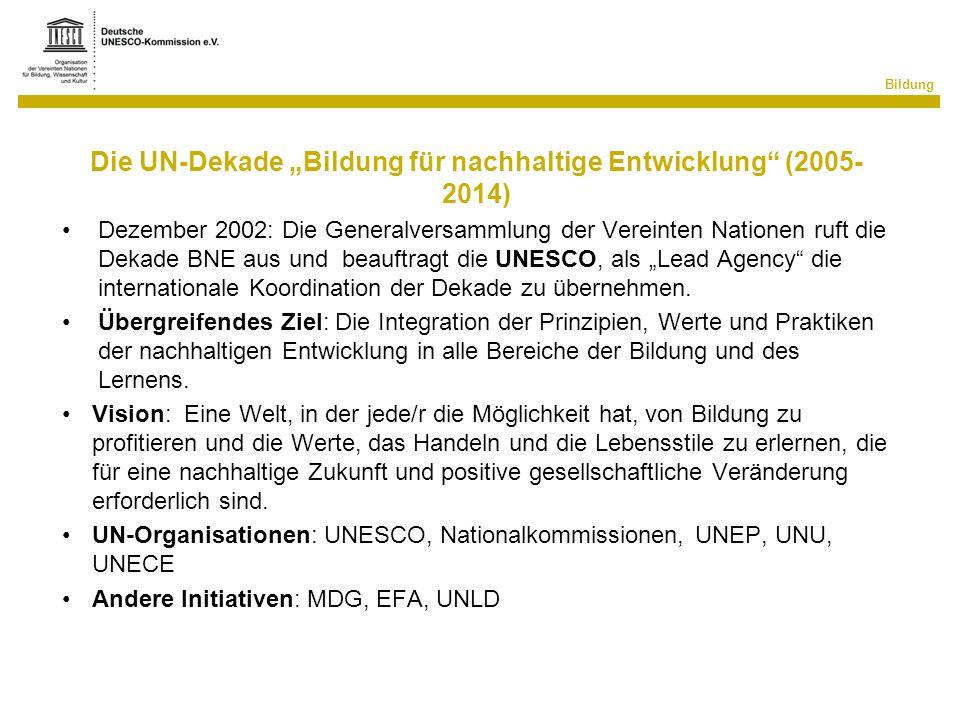 """Die UN-Dekade """"Bildung für nachhaltige Entwicklung (2005-2014)"""