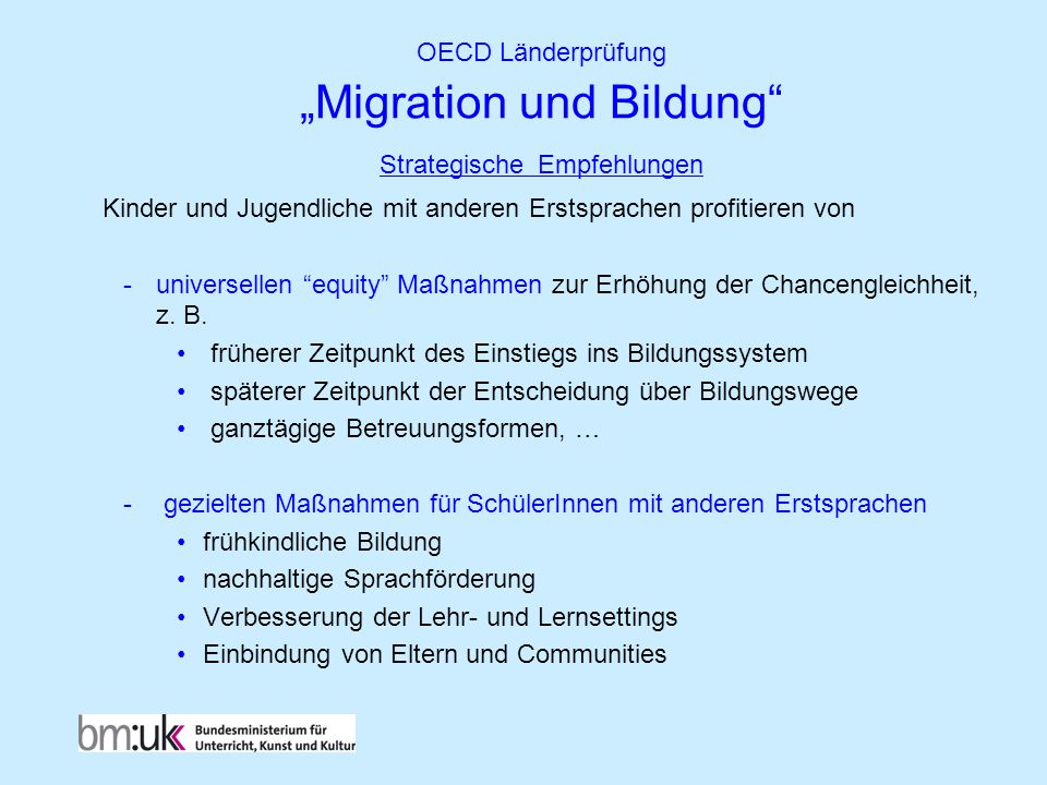"""OECD Länderprüfung """"Migration und Bildung Strategische Empfehlungen"""
