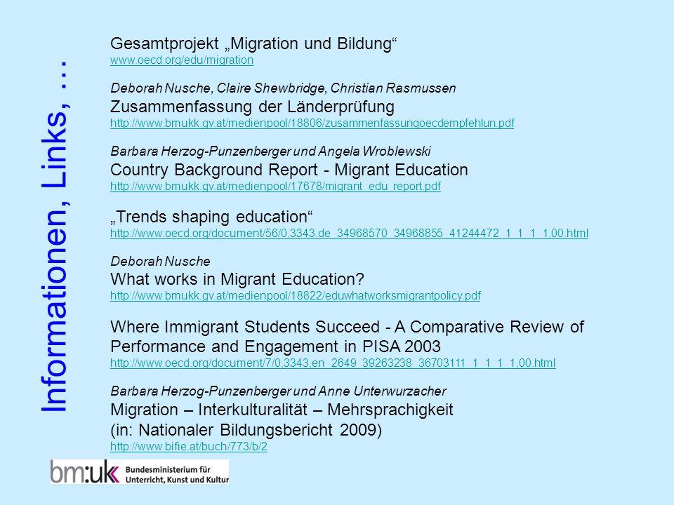 """Informationen, Links, … Gesamtprojekt """"Migration und Bildung"""