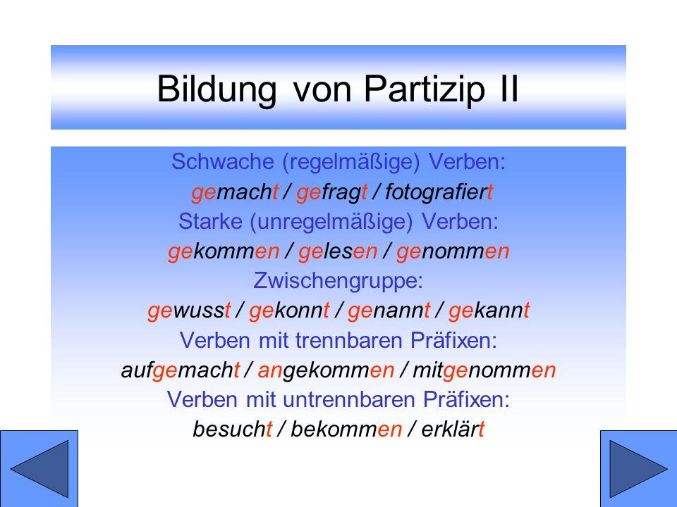 Bildung von Partizip II