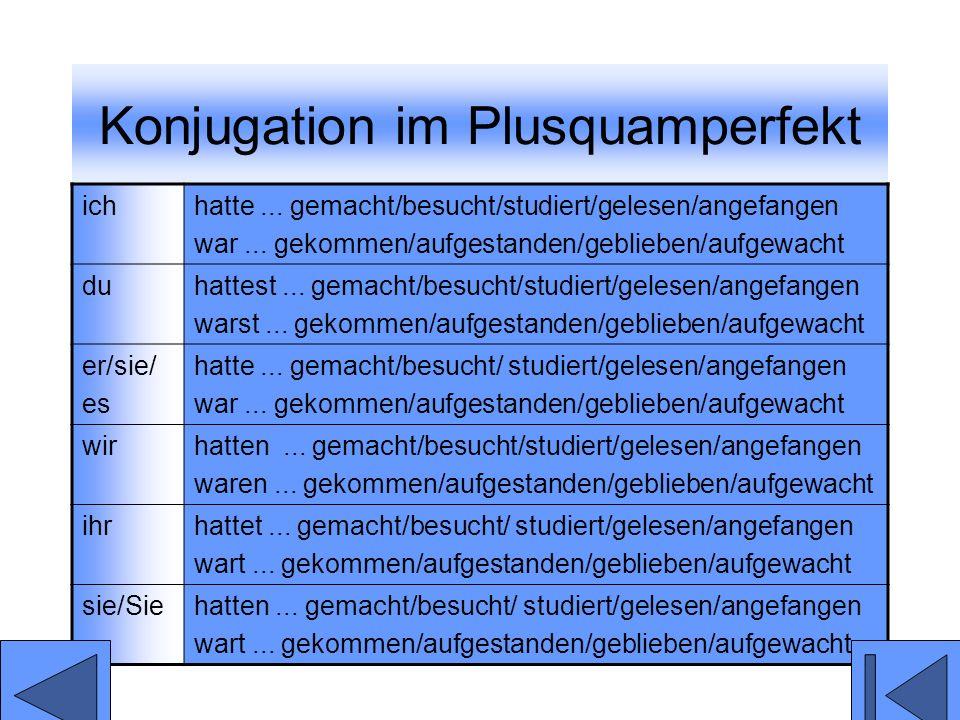 Konjugation im Plusquamperfekt