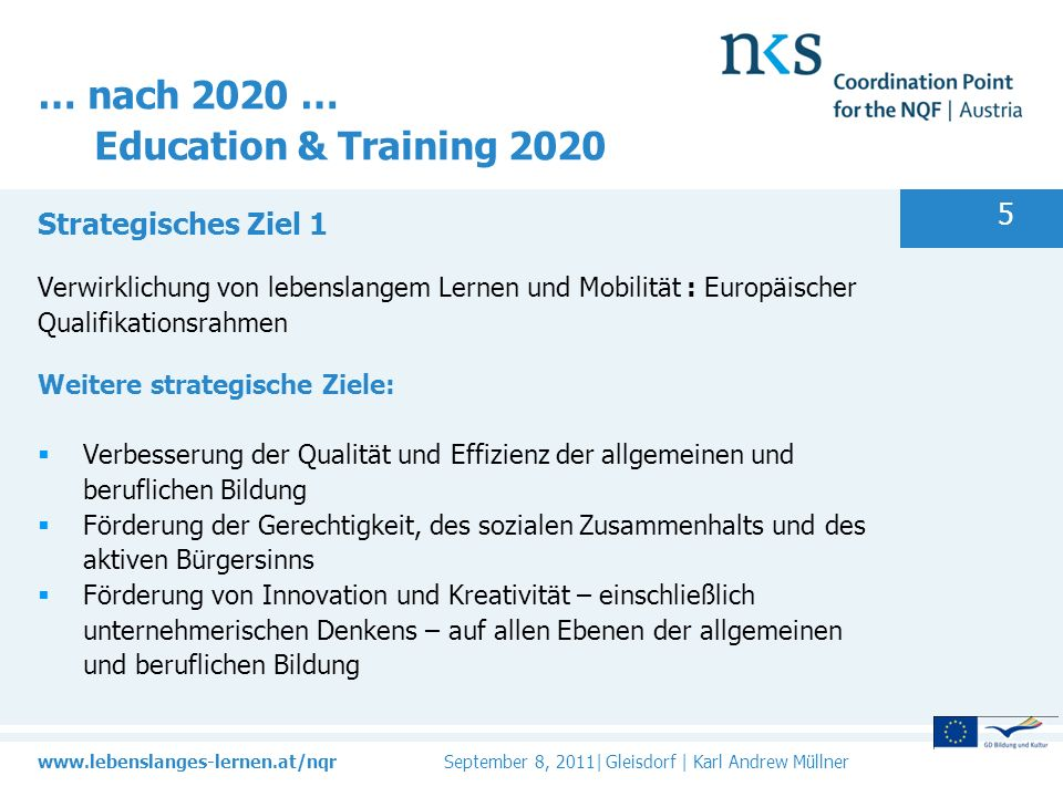 … nach 2020 … Education & Training 2020