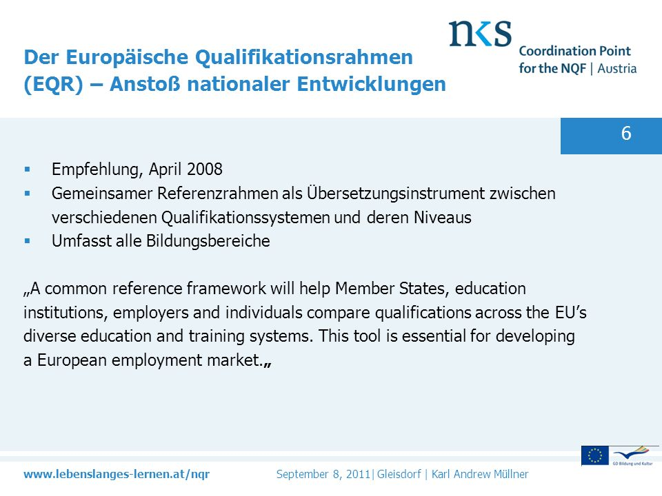 Der Europäische Qualifikationsrahmen (EQR) – Anstoß nationaler Entwicklungen