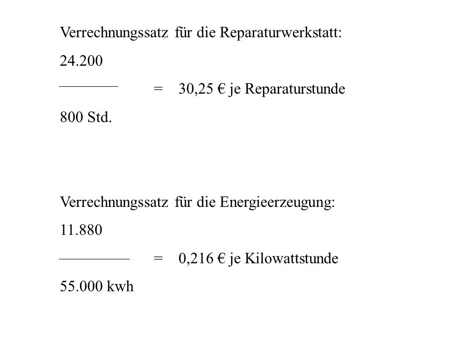 Verrechnungssatz für die Reparaturwerkstatt: