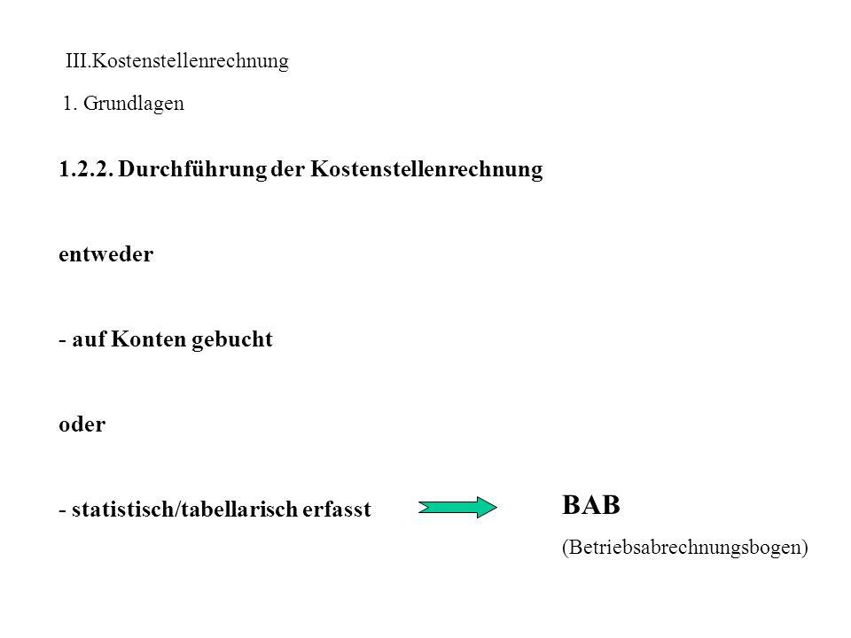 BAB 1.2.2. Durchführung der Kostenstellenrechnung entweder