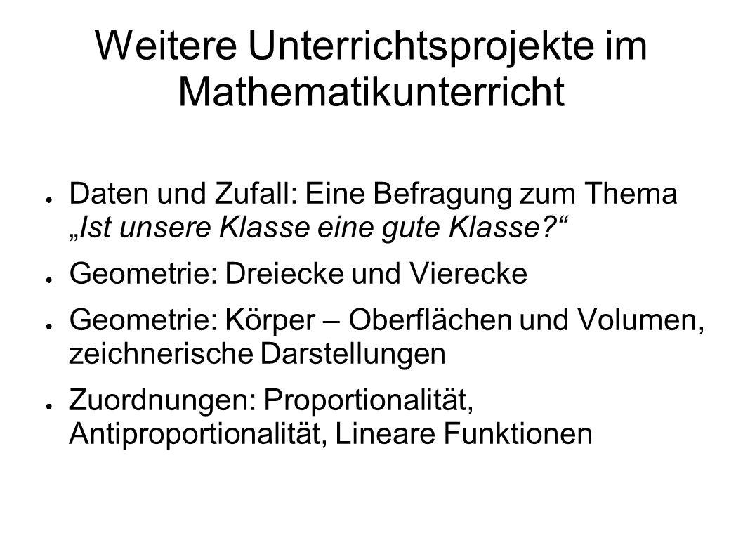 Weitere Unterrichtsprojekte im Mathematikunterricht