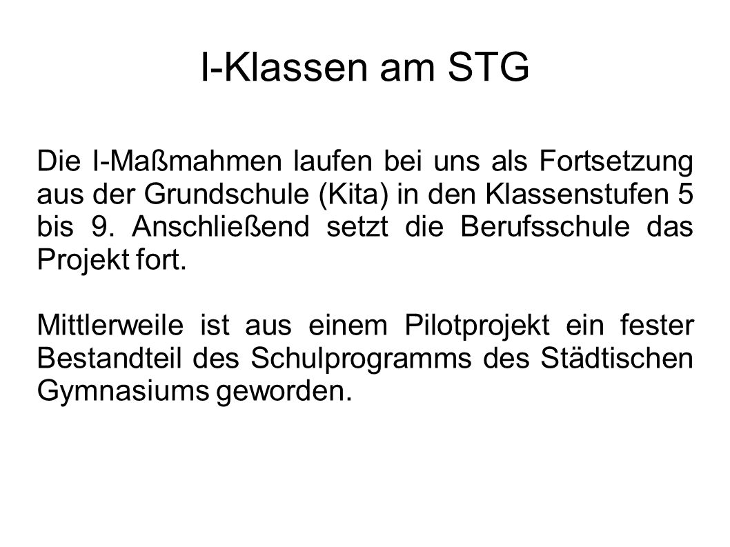 I-Klassen am STG
