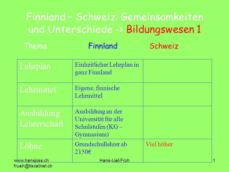 Finnland – Schweiz: Gemeinsamkeiten und Unterschiede -> Bildungswesen 1