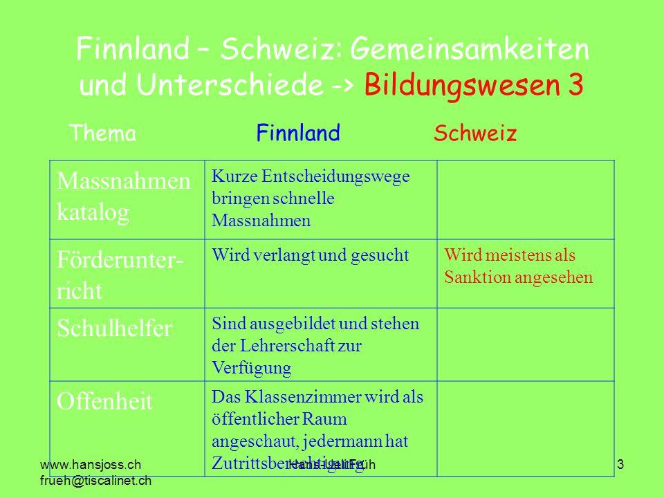 Finnland – Schweiz: Gemeinsamkeiten und Unterschiede -> Bildungswesen 3