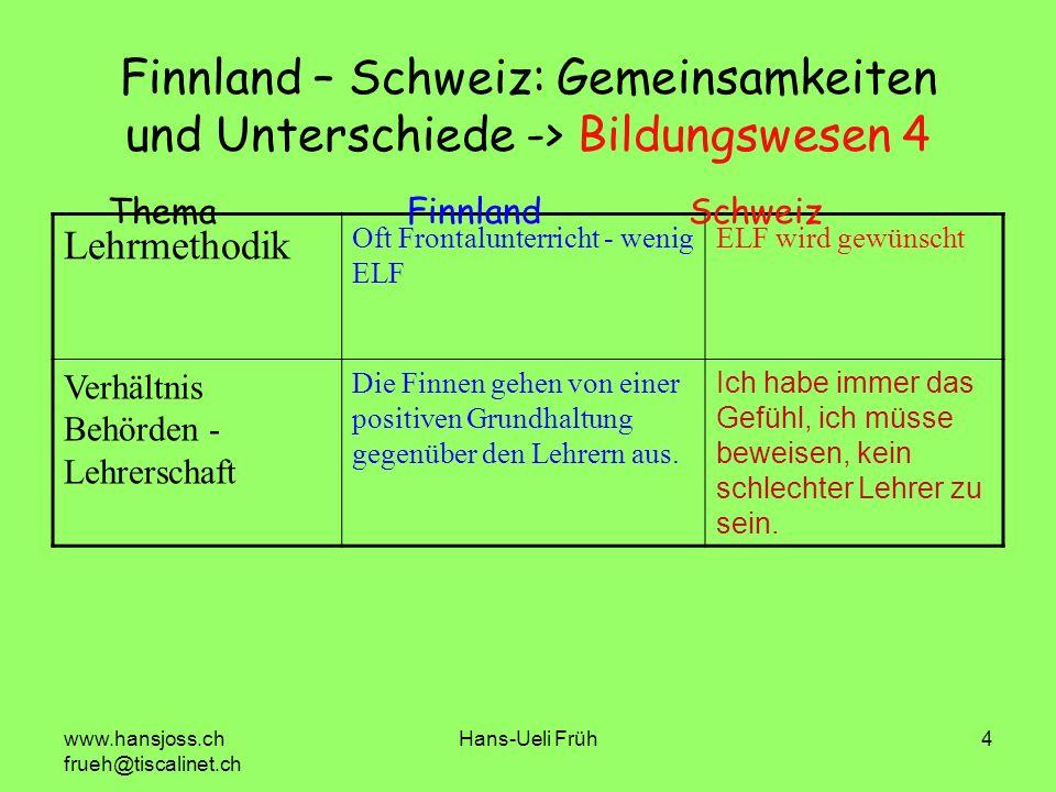 Finnland – Schweiz: Gemeinsamkeiten und Unterschiede -> Bildungswesen 4