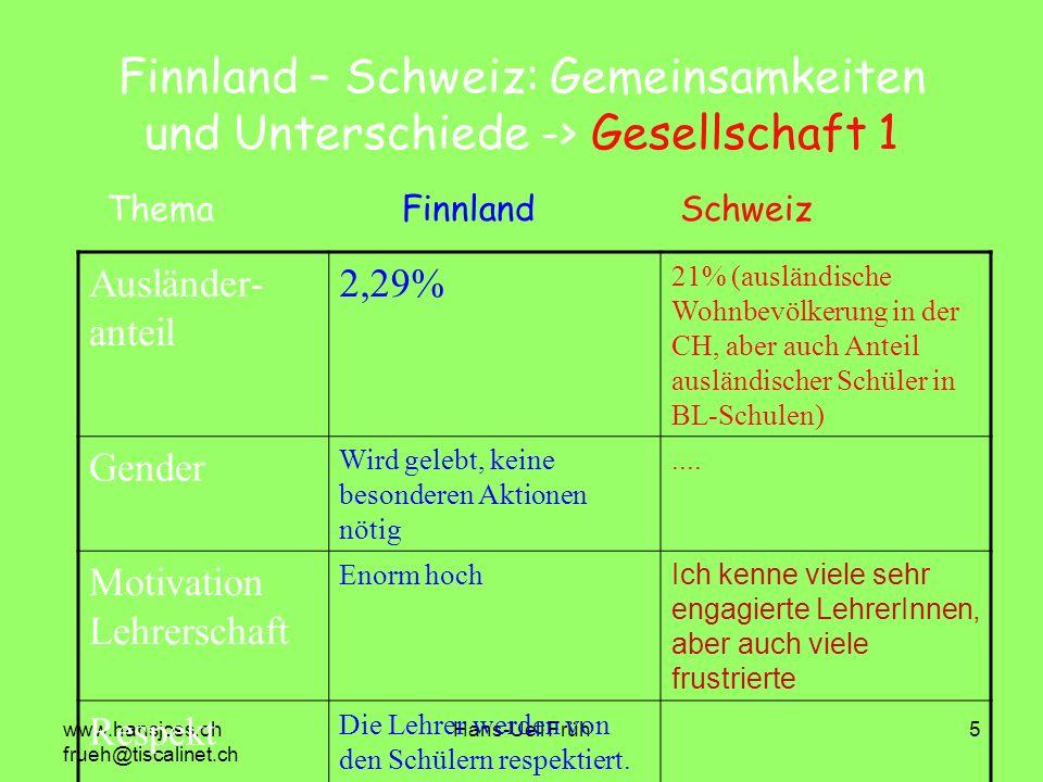 Finnland – Schweiz: Gemeinsamkeiten und Unterschiede -> Gesellschaft 1