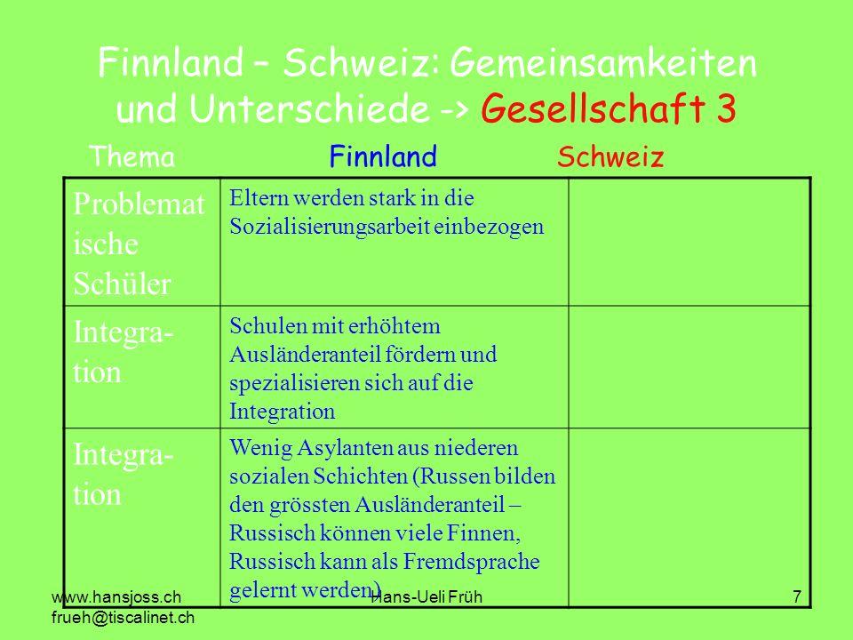 Finnland – Schweiz: Gemeinsamkeiten und Unterschiede -> Gesellschaft 3