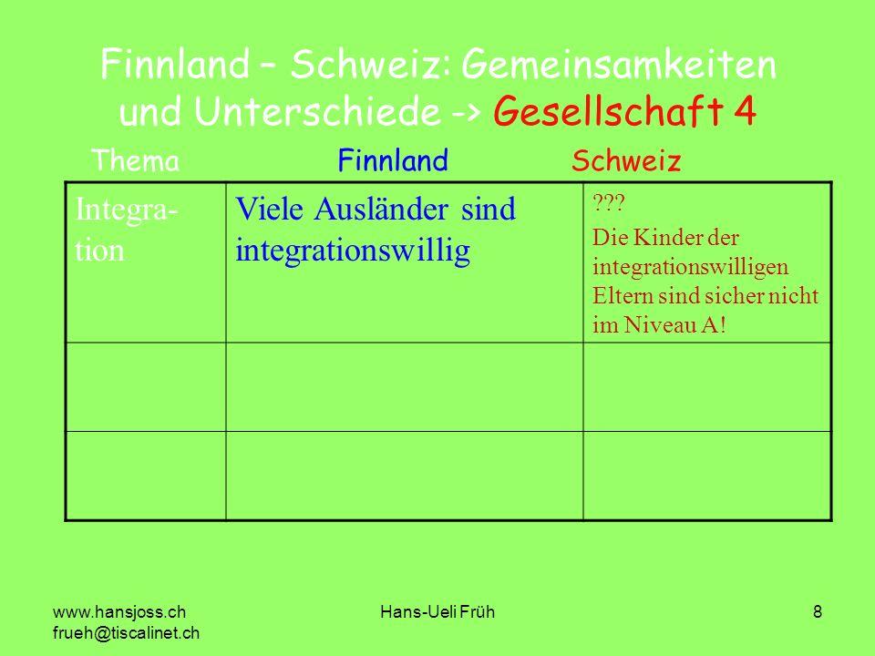Finnland – Schweiz: Gemeinsamkeiten und Unterschiede -> Gesellschaft 4