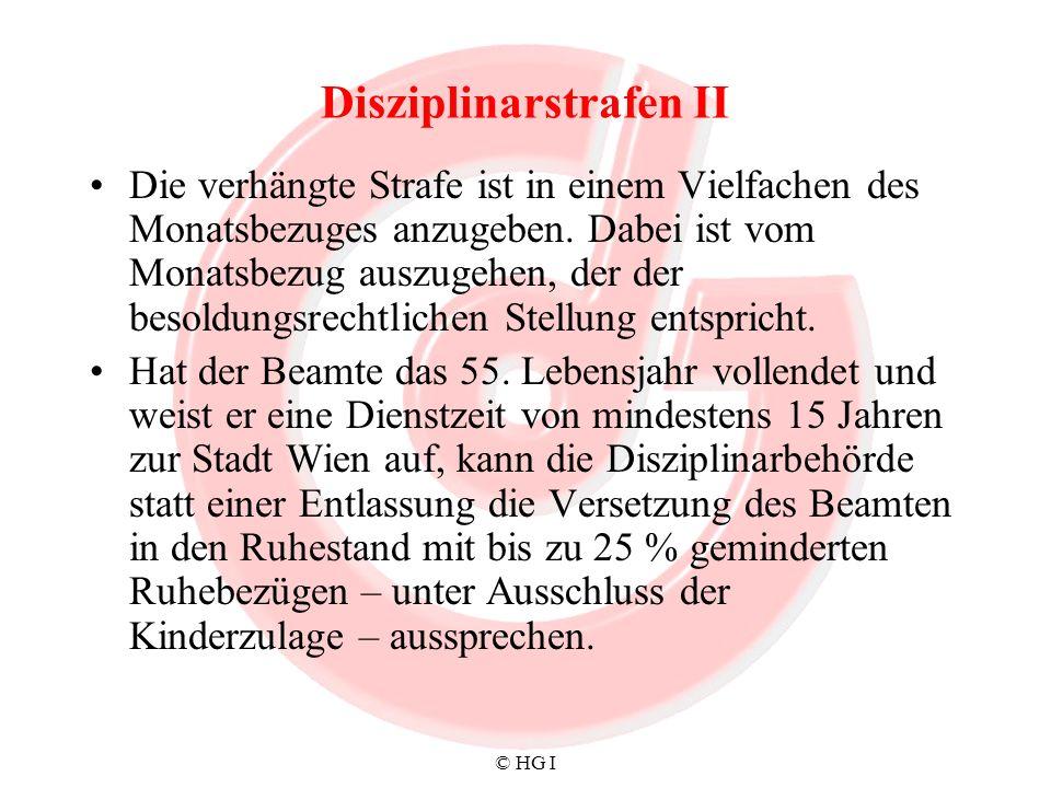 Disziplinarstrafen II