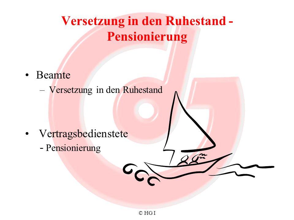 Versetzung in den Ruhestand - Pensionierung