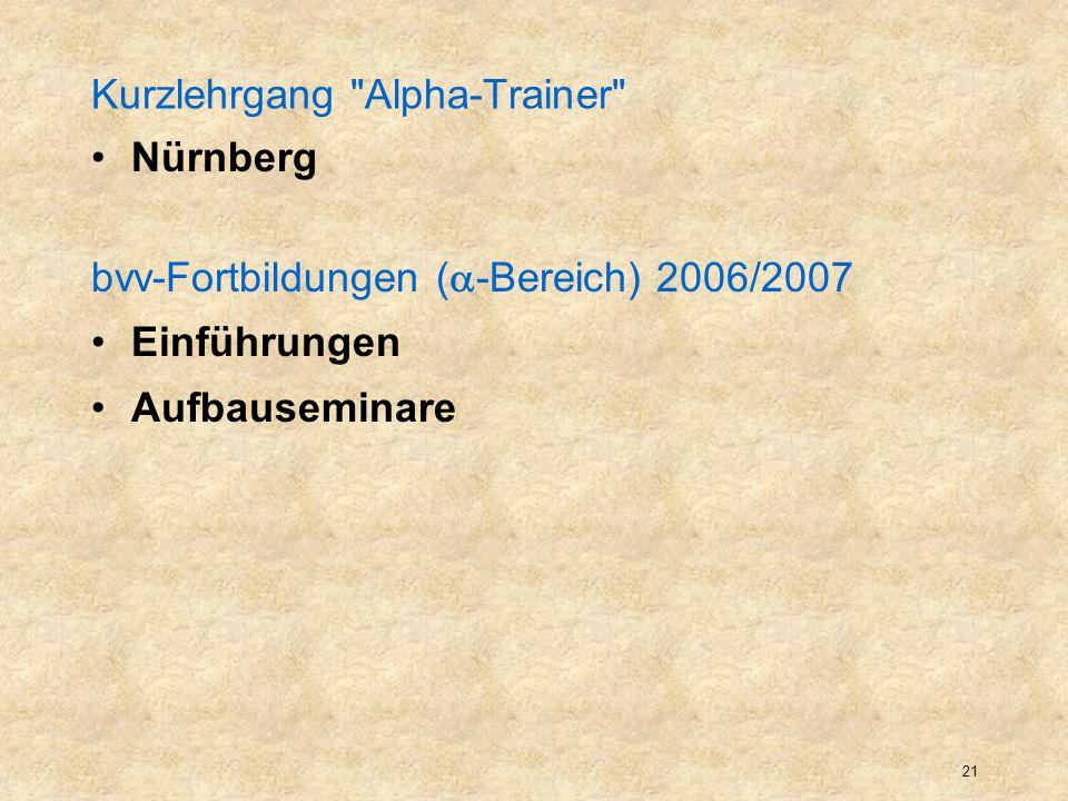 Kurzlehrgang Alpha-Trainer