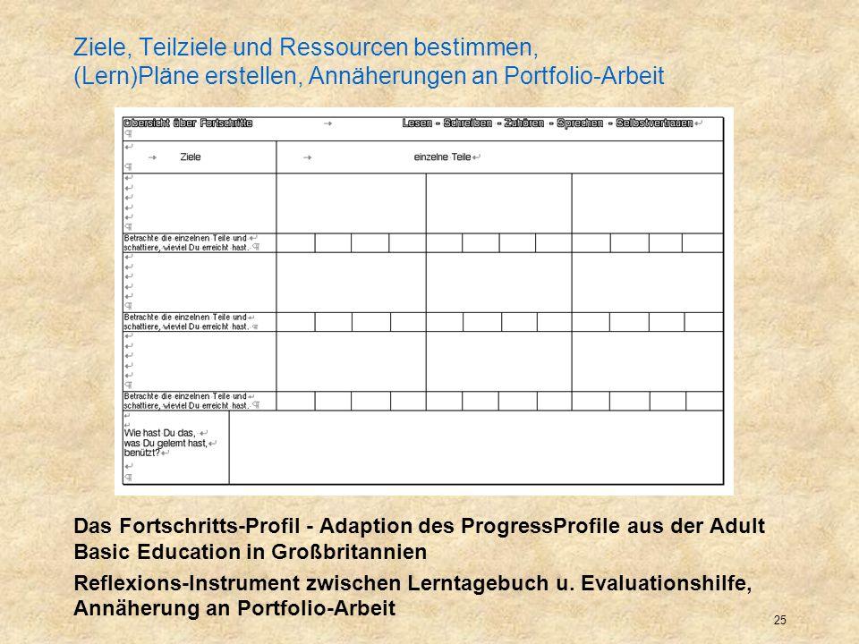 Ziele, Teilziele und Ressourcen bestimmen, (Lern)Pläne erstellen, Annäherungen an Portfolio-Arbeit