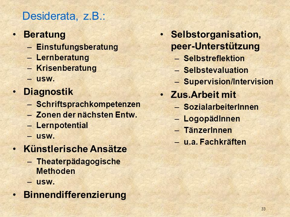 Desiderata, z.B.: Beratung Diagnostik Künstlerische Ansätze