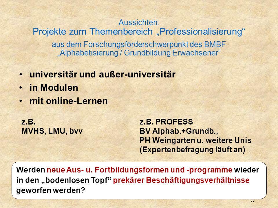 universitär und außer-universitär in Modulen mit online-Lernen