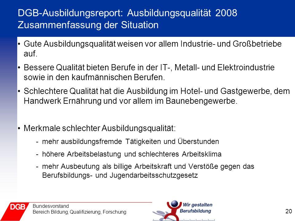 DGB-Ausbildungsreport: Ausbildungsqualität 2008 Zusammenfassung der Situation