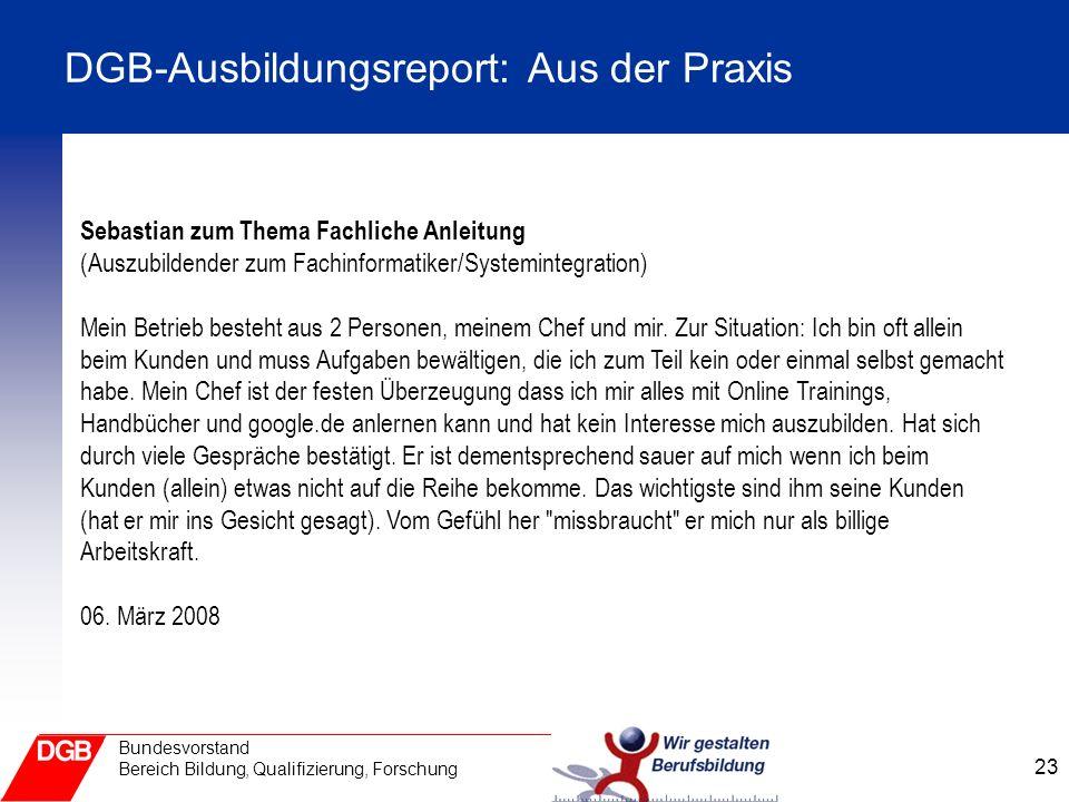 DGB-Ausbildungsreport: Aus der Praxis