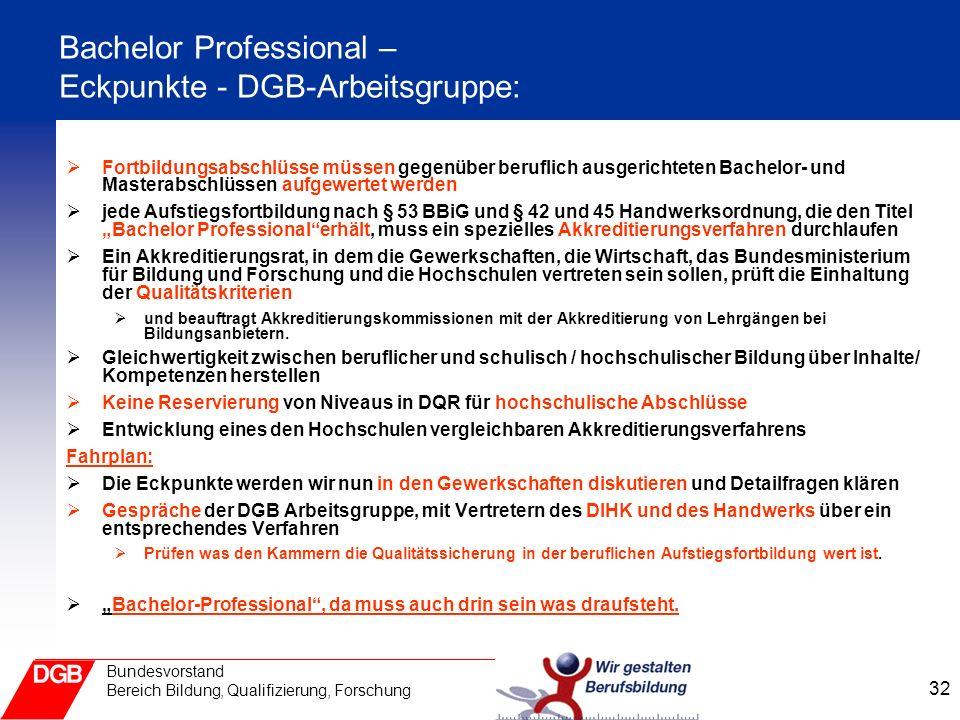 Bachelor Professional – Eckpunkte - DGB-Arbeitsgruppe: