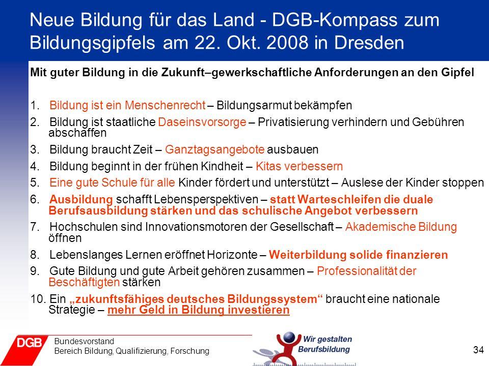 Neue Bildung für das Land - DGB-Kompass zum Bildungsgipfels am 22. Okt
