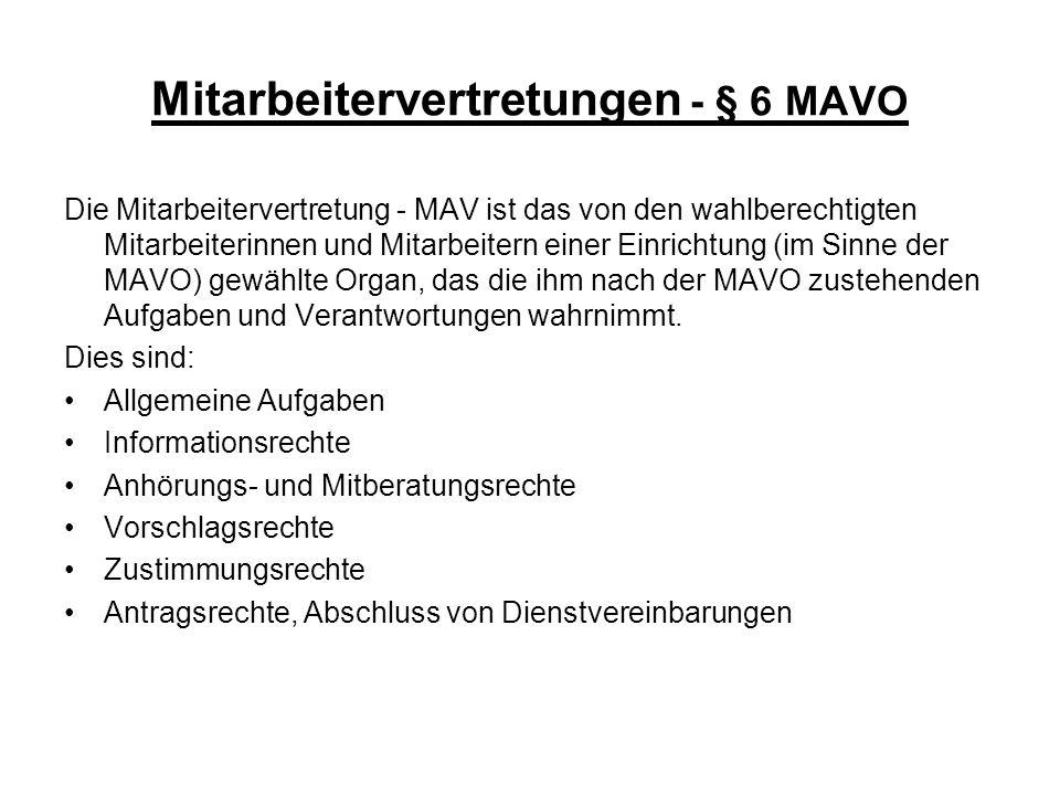Mitarbeitervertretungen - § 6 MAVO