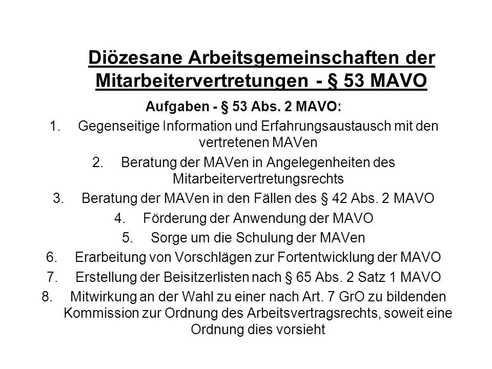 Diözesane Arbeitsgemeinschaften der Mitarbeitervertretungen - § 53 MAVO