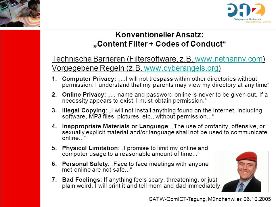 "Konventioneller Ansatz: ""Content Filter + Codes of Conduct"